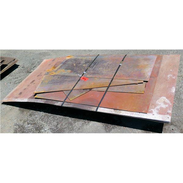 Pallet Multiple Metal Sheets Misc Lengths Including 95 L x 48 W x 7 H