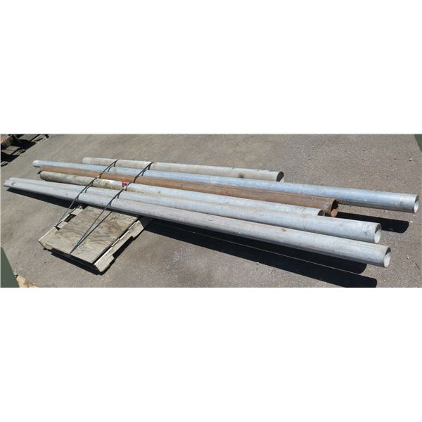 """Qty 6 Metal Pipes Misc Lengths Including 172"""" & 202""""L x 4"""" Diameter"""