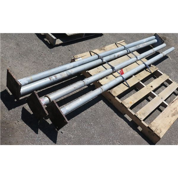 Qty 4 Footed Metal Pipes Misc Lengths Including 98 L x 2.5  Diameter (Pipe)