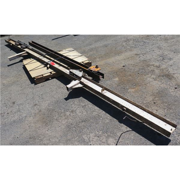 """Qty 2 Metal I-Beam Tracks w/ 1 Ton Pulley Systems Lengths Include 199""""L & 108""""L"""
