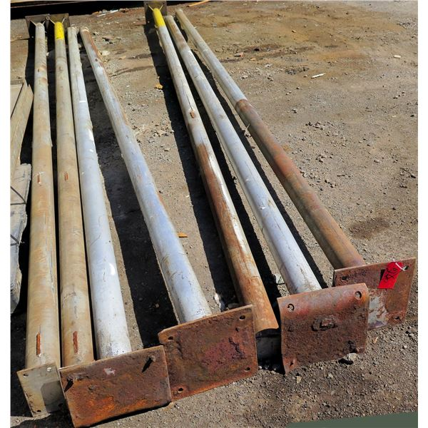 """Qty 8 Footed Metal Poles Misc Lengths Including 248""""L, 12"""" Square (Foot)"""