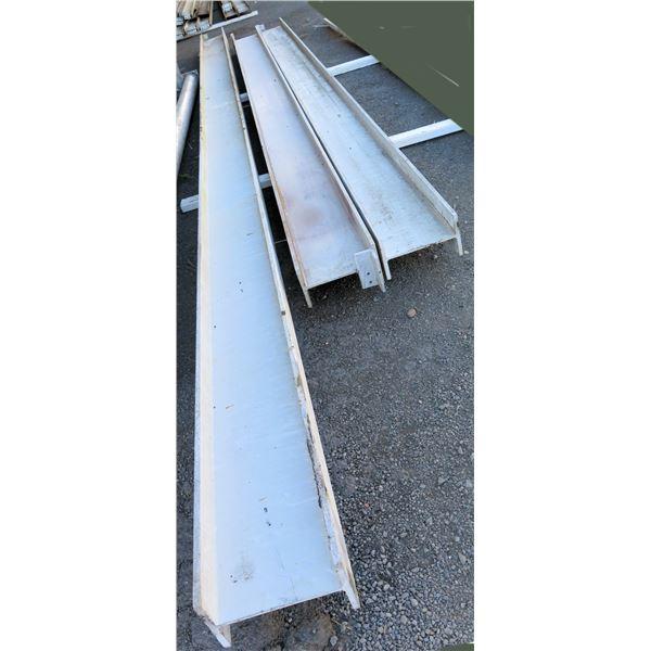 """Qty 3 Aluminum I-Beams 12""""H X 7""""W: 2 @ 226""""L & 1 @ 300""""L"""