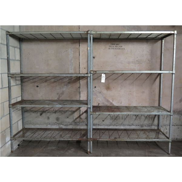 """Qty 2 Metal 4 Tier Shelves 47""""L x 18""""W x 71""""H"""