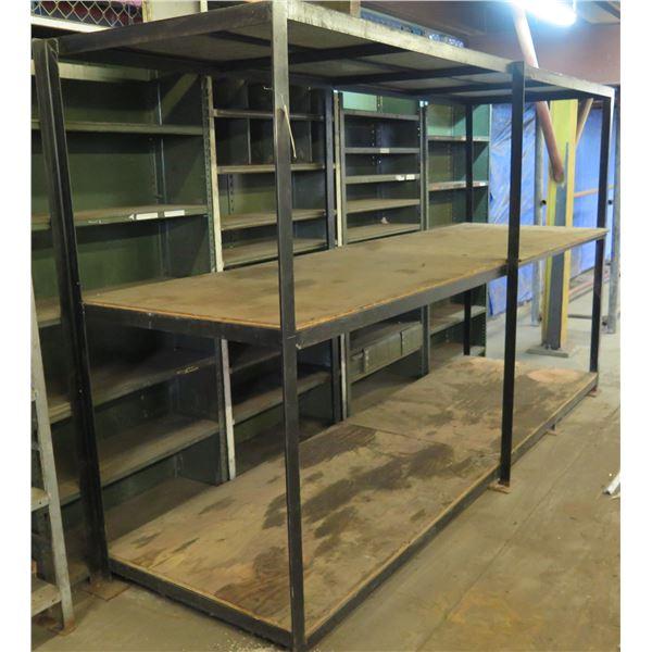 """Metal & Plywood 2 Tier Shelf 126""""L x 36""""W x 73""""H"""