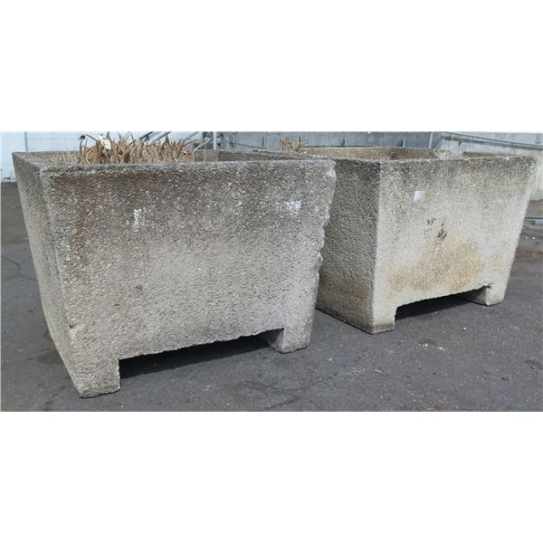 """Qty 2 Concrete Footed Planters 48"""" x 48"""" x 35"""""""