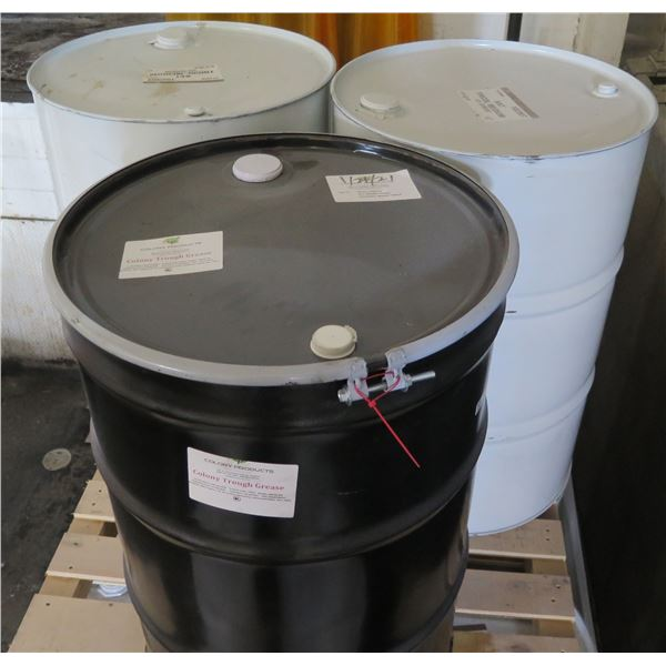 Qty 2 Drums Bat Tricol Medium & 1 Colony Products Trough Grease
