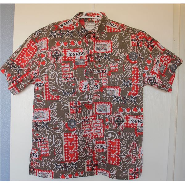 New Love's Logo Theme Brown/Red Aloha Shirt, Size S