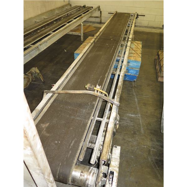 """Long Conveyor, Approx. 24 Ft Long, Approx. 30"""" Wide"""