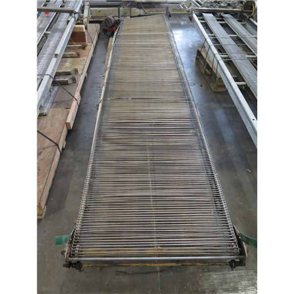 "Long Metal Grate Conveyor, Approx. 16 Ft Long, Approx. 36"" Wide"