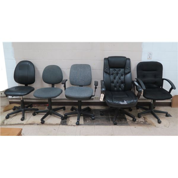 Qty 5 Rolling Office Chairs - 3 w/ Armrests