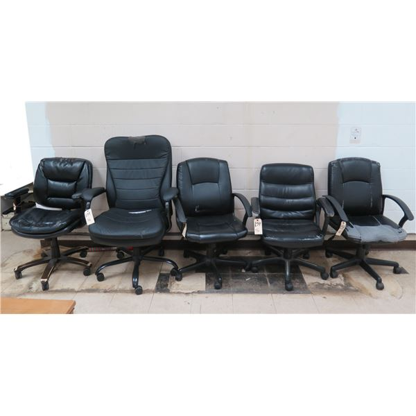 Qty 5 Black Executive Rolling Office Arm Chairs