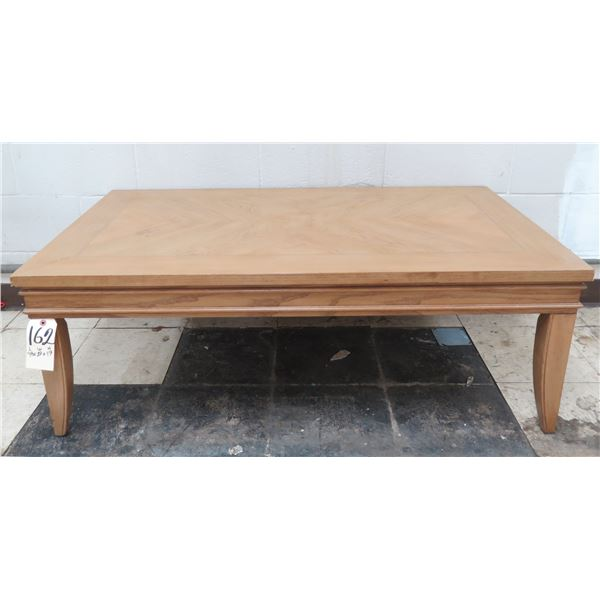 """Low Wooden Coffee Table 48"""" x 37"""" x 17""""H"""