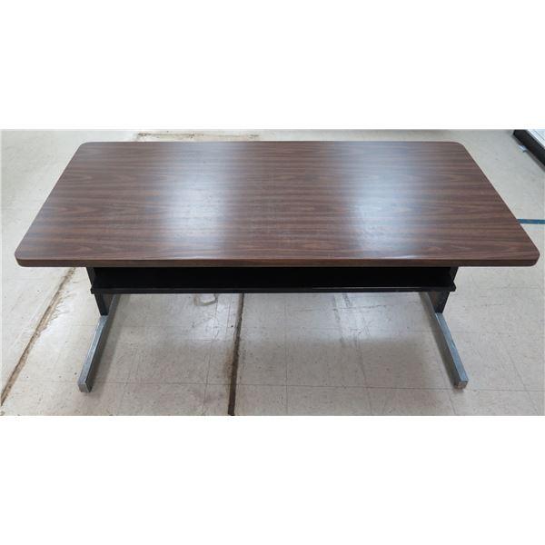 "Wood Laminate Table w/ Metal Divider & Legs 60"" x 30"" x 26""H"