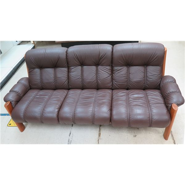 """Brown 3 Section Sofa w/ Wooden Frame 84"""" x 28"""" x 32""""H"""