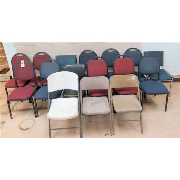Qty 16 Folding & Stacking Chairs, Some Upholstered