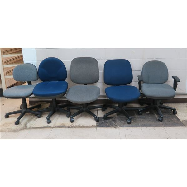 Qty 5 Rolling Office Chairs w/ Canvas Upholstery, 1 w/ Arm Rest