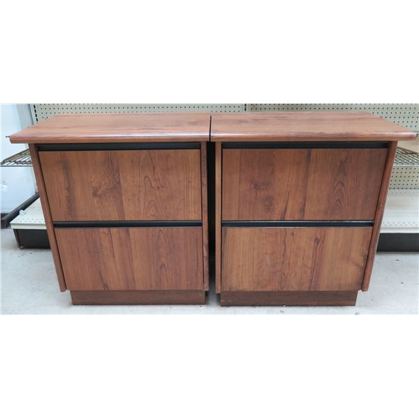 """Qty 3 Wooden 2 Drawer Cabinets 26"""" x 17"""" x 30""""H"""