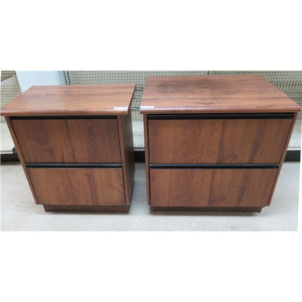 """Qty 3 Wooden 2 Drawer Cabinets 26"""" x 13"""" x 30""""H & 30"""" x 23"""" x 30""""H"""