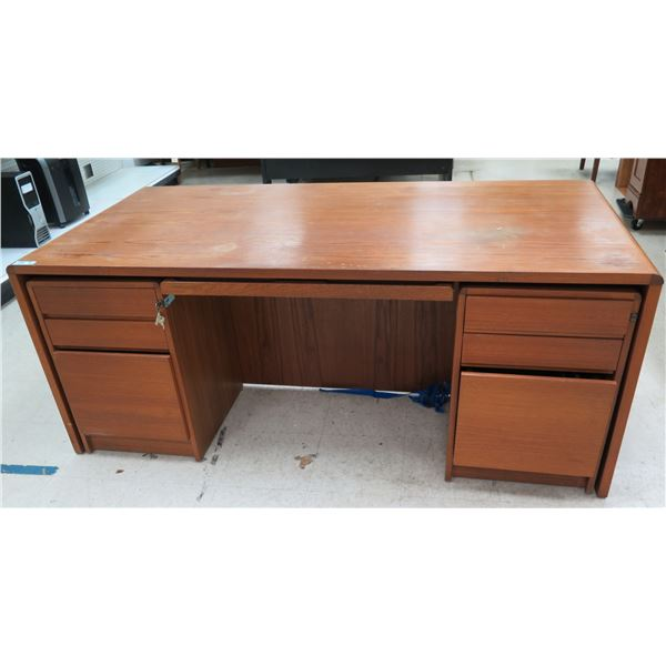 """Wooden Desk w/ 2 Pull Out 3 Drawer Cabinets & Keyboard Rest 72"""" x 36"""" x 29""""H"""