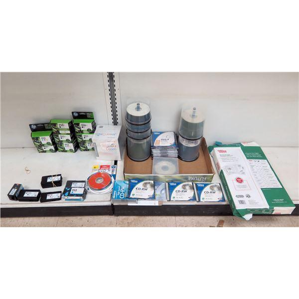 Multiple  Misc HP Ink, Memorex Jewel Cases, DVR's & CD-RW Discs, Paper, etc