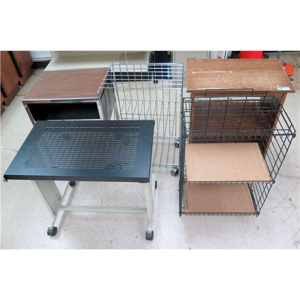 Multiple Rolling Storage Cabinets: Wood, Pressboard & Metal & Printer Table