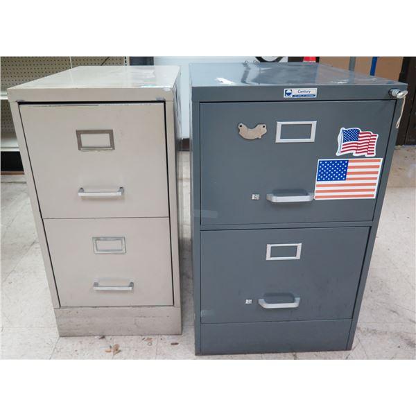 Qty 2 Metal 2 Drawer File Cabinets - 1 Steelmaster w/ Key