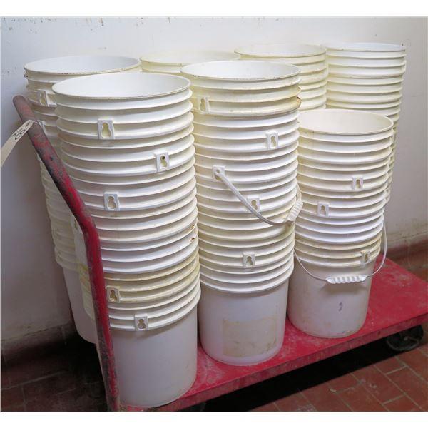 Multiple White 5 Gallon Buckets & Rolling Cart