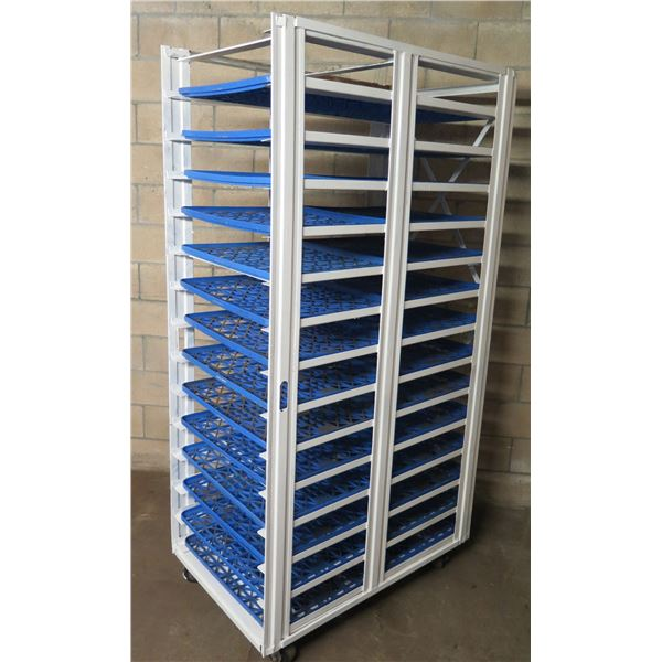 """White Metal Rolling Cooling Rack 28""""W x 45""""D x Approx. 79""""H (Black Trays Included)"""