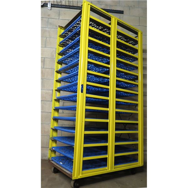 """Yellow Metal Rolling Cooling Rack 28""""W x 45""""D x Approx. 79""""H (Black Trays Included)"""