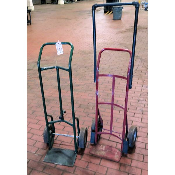 Qty 2 Metal Hand Trucks, 1 w/ Extended Handle