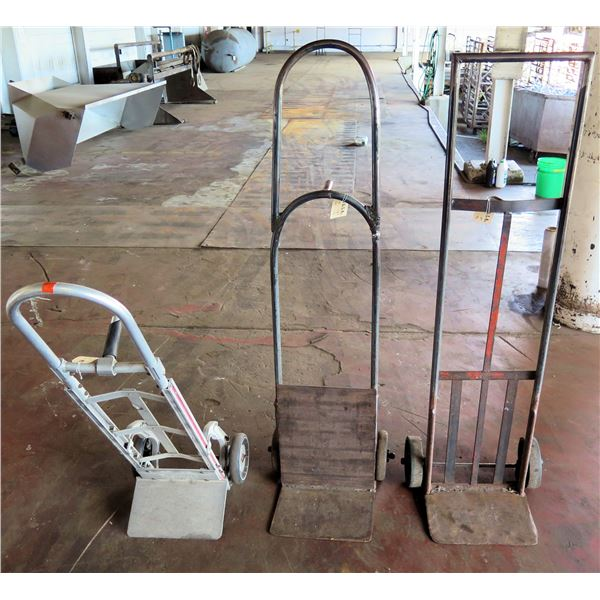 Qty 3 Metal Hand Trucks, 2 w/ Extended Handle