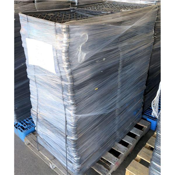 "Qty 150 Bakestep Flat Black Stackable Bread Trays 25.75"" x 22"" x 1"""
