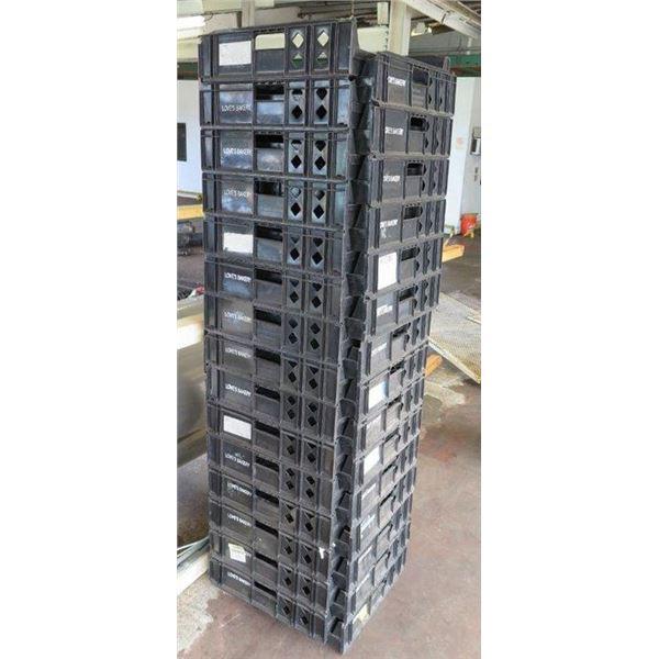 "Qty 30 Black Heavy Duty Stackable Bread Trays 26"" x 21.5"" x 5.5"""