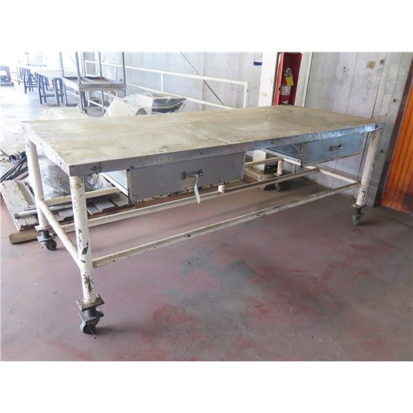"""Metal Table with Drawers 96"""" x 40"""" x 36H"""