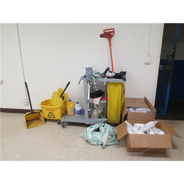 Cleaning Cart, Mop, Bucket, Cleaning Supplies, etc
