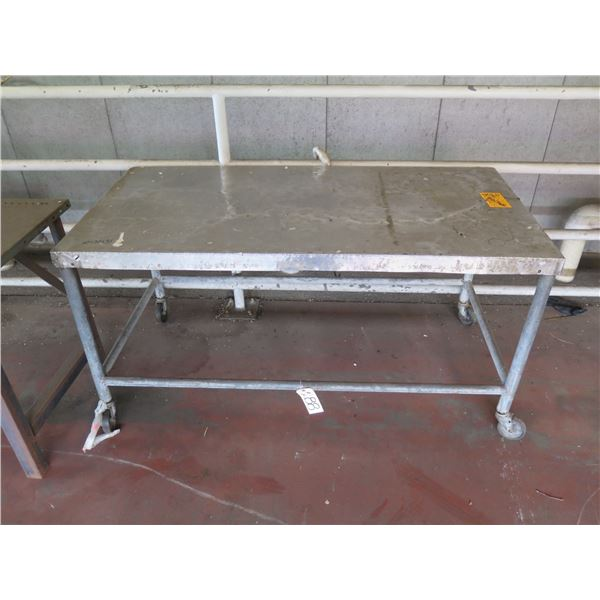 """Metal Table with Wheels 60"""" x 30"""" x 31H"""
