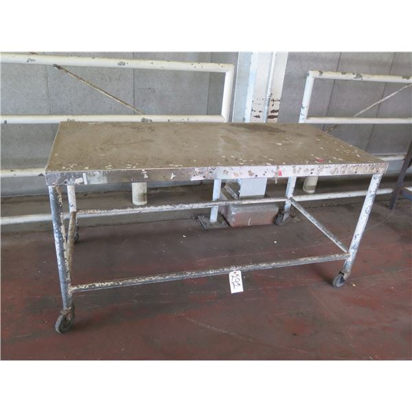 """Metal Table with Wheels 60"""" x 30"""" x 32H"""