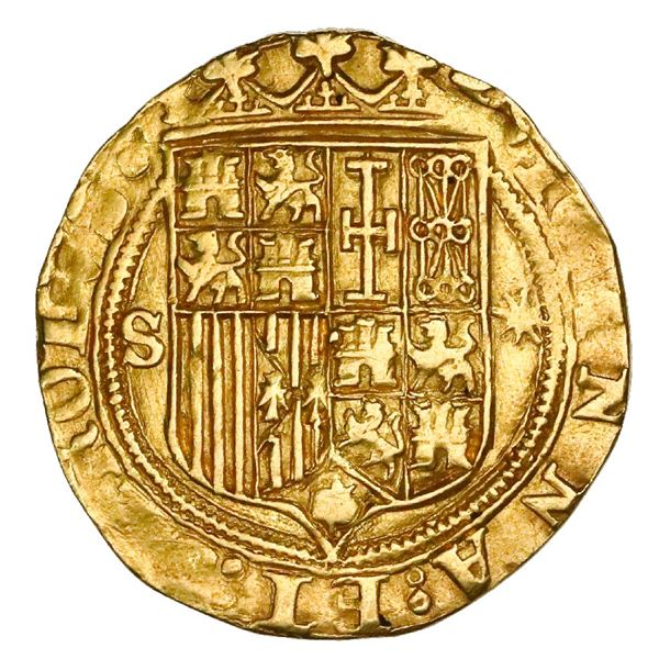 Seville, Spain, 1 escudo, Charles-Joanna, assayer * to right, mintmark S to left, NGC AU 58.