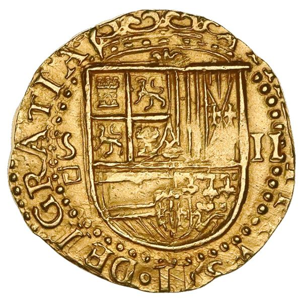 Seville, Spain, cob 2 escudos, Philip II, assayer Gothic D below mintmark to S to left, NGC MS 63.