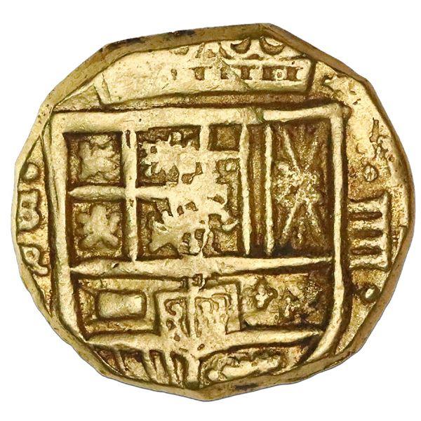 Seville, Spain, cob 4 escudos, Philip IV, assayer R (1640s), NGC AU 58.