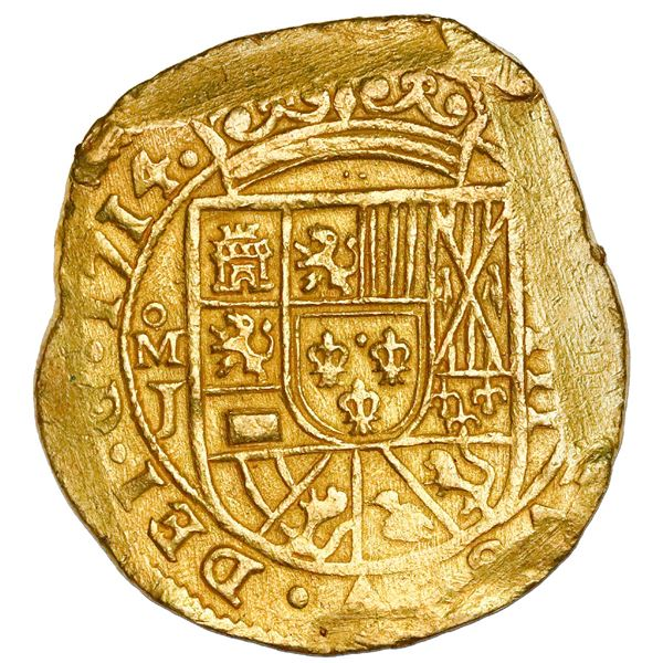 Mexico City, Mexico, cob 8 escudos, 1714J, NGC MS 62, ex-1715 Fleet (designated on special label), e