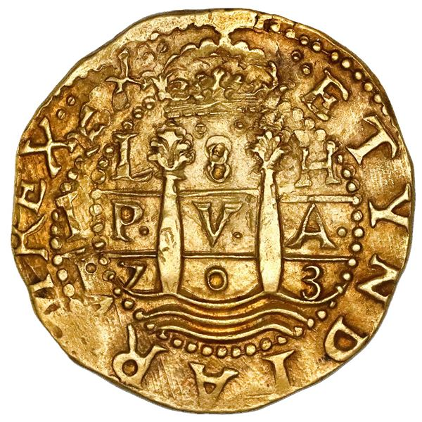 Lima, Peru, cob 8 escudos, 1703H, HISPAN variety, rare, NGC MS 63, finest known in NGC census, ex-17