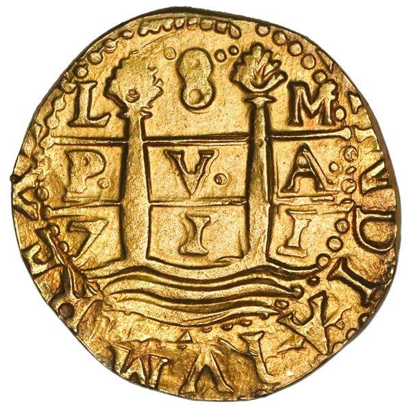 Lima, Peru, cob 8 escudos, 1711M, NGC UNC details / edge filing, ex-1715 Fleet (designated on specia