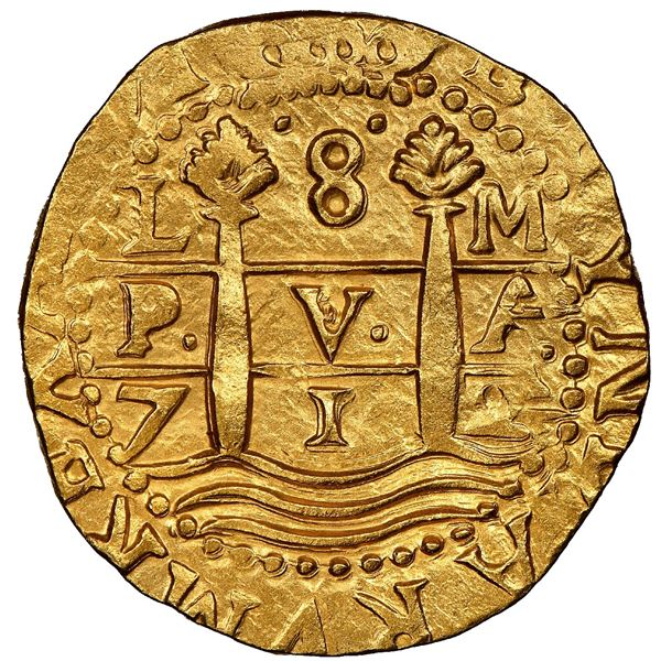 Lima, Peru, cob 8 escudos, 1712M, NGC MS 64, ex-1715 Fleet (designated on special label).