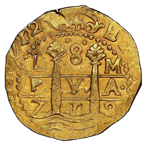 Lima, Peru, cob 8 escudos, 1712M, NGC MS 62, ex-1715 Fleet (designated on special label), ex-Ullian.