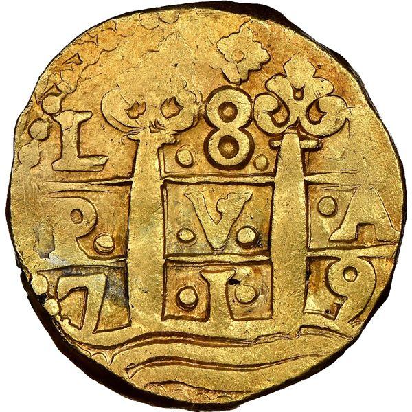 Lima, Peru, cob 8 escudos, 1719M, rare.