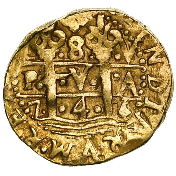 Lima, Peru, cob 8 escudos, 1746V, dots on pillars side, stars on cross side, unique (unlisted).