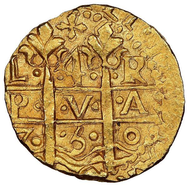 Lima, Peru, cob 4 escudos, 1750R, NGC MS 65 / La Luz, finest known in NGC census.