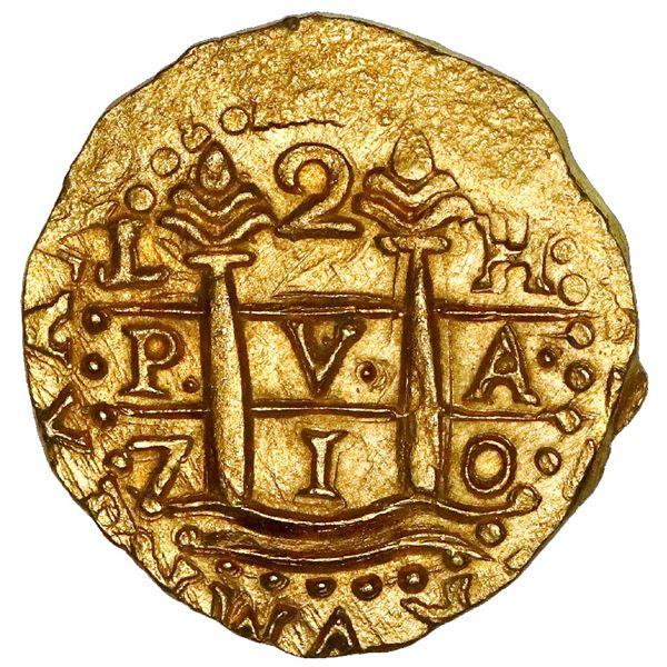 Lima, Peru, cob 2 escudos, 1710H, NGC MS 66, finest known in NGC census, ex-1715 Fleet (designated o