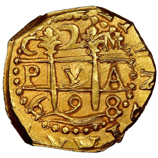 Cuzco, Peru, cob 2 escudos, 1698M, NGC MS 63, ex-1715 Fleet (designated on special label).